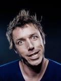 Retrato divertido del hombre que hace muecas Imagen de archivo libre de regalías