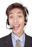 Retrato do agente do callcenter do entusiasta fotos de stock royalty free
