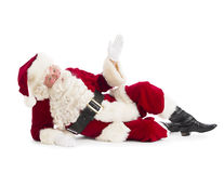 Retrato do assoalho de Santa Claus Gesturing While Lying On fotos de stock