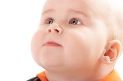 Retrato do bebê adorável no fundo isolado imagens de stock