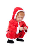 Retrato do bebê bonito pequeno no vermelho imagens de stock royalty free