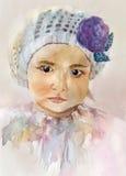 Retrato do bebê da aquarela Fotos de Stock Royalty Free