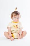Retrato do bebê de sorriso isolado no fundo branco Foto de Stock Royalty Free