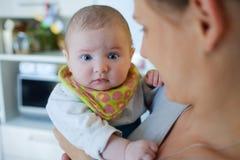 Retrato do bebê nas mãos da mamã Foto de Stock Royalty Free