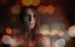 Retrato do bokeh da menina Imagem de Stock