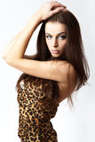 Retrato do brunette da mulher nova. Foto de Stock Royalty Free