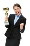Retrato do busto da mulher de negócios com copo dourado imagens de stock