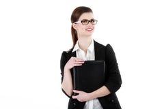 Retrato do busto da senhora do negócio com preto vestindo do dobrador fotografia de stock royalty free