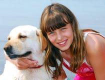 Retrato do cão da menina Imagem de Stock Royalty Free