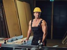 Retrato do carpinteiro muscular descamisado imagens de stock royalty free