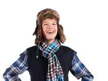 Retrato do chapéu forrado a pele desgastando do adolescente Imagem de Stock Royalty Free