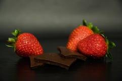 Retrato do chocolate e dos straberries Imagem de Stock Royalty Free