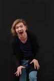 Retrato do close up alto de rir o homem caucasiano imagem de stock