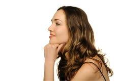 Retrato do close up bonito da mulher fotos de stock