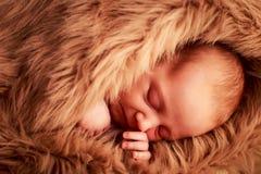 retrato do close up da cara recém-nascida do sono do bebê com mão sob o mordente Foto de Stock