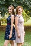 Retrato do close up da filha e da mãe adultas fora A morena bonita e sua mamã estão olhando a câmera no Fotografia de Stock Royalty Free