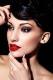 Brunette 'sexy' com composição brilhante fotografia de stock royalty free