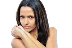 Retrato do close-up da jovem mulher bonita, isolado sobre o branco Fotografia de Stock Royalty Free