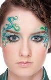 Retrato do Close-up da menina do sprite com faceart foto de stock royalty free