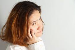 Retrato do close up da mulher de negócio nova bonito fotografia de stock
