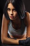 Retrato do close up da mulher desportiva Imagens de Stock Royalty Free