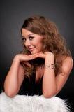 Retrato do Close-up da mulher do encanto da elegância fotos de stock royalty free