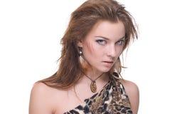 Retrato do close up da mulher selvagem emocional nova Fotos de Stock Royalty Free