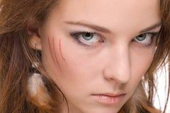 Retrato do close up da mulher selvagem emocional nova Imagem de Stock Royalty Free