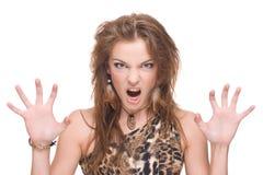 Retrato do close up da mulher selvagem irritada nova Foto de Stock