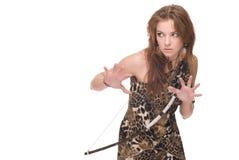 Retrato do close up da mulher selvagem nova com curva Imagem de Stock