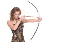 Retrato do close up da mulher selvagem nova com curva Foto de Stock