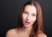 Retrato do close-up da mulher tentador Imagens de Stock Royalty Free