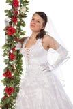 Retrato do Close-up da noiva com flores Imagem de Stock Royalty Free