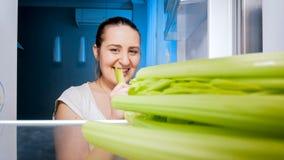 Retrato do close up de aipo cortante da mulher moreno nova na cozinha na noite Foto de Stock
