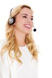 Retrato do close up de auriculares vestindo fêmeas do representante de serviço ao cliente fotos de stock royalty free