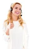 Retrato do close up de auriculares vestindo fêmeas do representante de serviço ao cliente fotos de stock