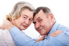 Retrato do close up de pares idosos de sorriso foto de stock royalty free