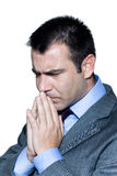 Retrato do close up de um homem de negócios preocupado pensativo Fotografia de Stock Royalty Free