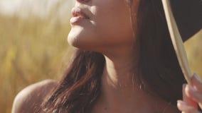 Retrato do close-up de uma menina que senta-se em um prado e que aprecia um sol morno do por do sol video estoque