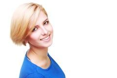 Retrato do close up de uma mulher alegre segura fotos de stock