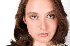 Retrato do close-up de uma mulher principal vermelha bonita Imagens de Stock