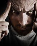 Retrato do Close-up do homem forçado assustador imagens de stock royalty free