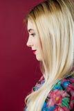 Retrato do close up do louro bonito com composição profissional no estúdio no fundo cor-de-rosa Imagem de Stock Royalty Free