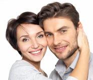 Retrato do close up dos pares felizes bonitos - isolados Imagens de Stock Royalty Free