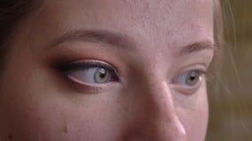 Retrato do close up do maquilhador fêmea caucasiano novo que aplica o pó de cara claro no mordente sob o olho com a vídeos de arquivo