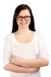 Retrato da fêmea com compartimento fotografia de stock royalty free