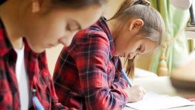 Retrato do concentrado 10 anos de menina idosa que faz trabalhos de casa com irmã Fotos de Stock Royalty Free