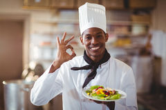 Retrato do cozinheiro chefe feliz que faz o sinal aprovado Imagem de Stock Royalty Free