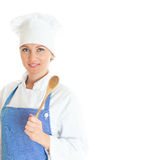 Retrato do cozinheiro fêmea do cozinheiro chefe Fotografia de Stock