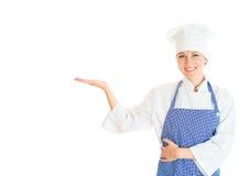 Retrato do cozinheiro fêmea do cozinheiro chefe Fotos de Stock